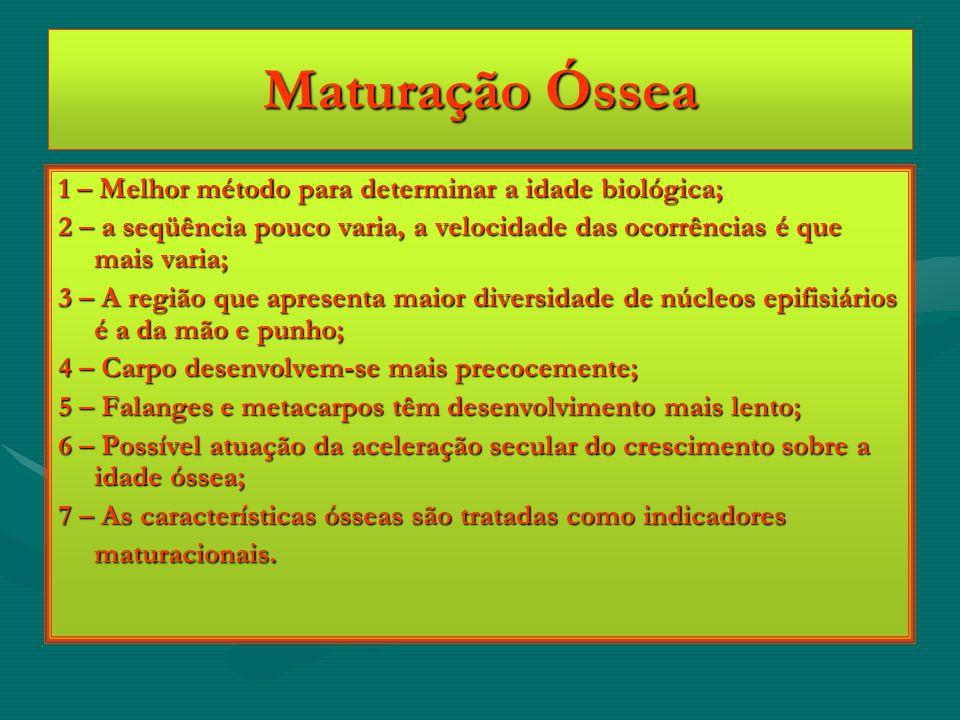 Maturação Óssea 1 – Melhor método para determinar a idade biológica; 2 – a seqüência pouco varia, a velocidade das ocorrências é que mais varia; 3 – A