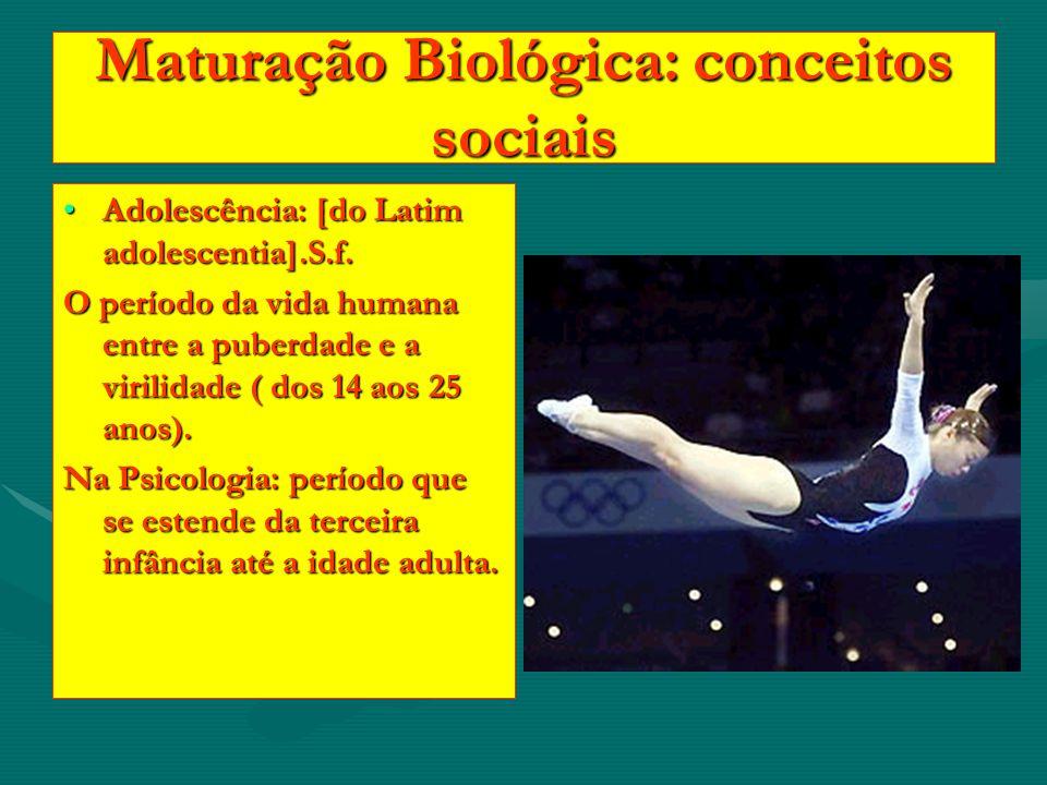 Maturação Biológica: conceitos sociais Adolescência: [do Latim adolescentia].S.f.Adolescência: [do Latim adolescentia].S.f. O período da vida humana e