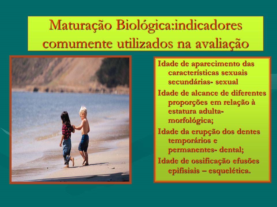 Maturação Biológica:indicadores comumente utilizados na avaliação Idade de aparecimento das características sexuais secundárias- sexual Idade de alcan