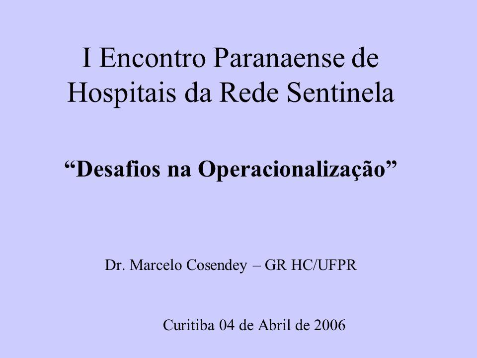 I Encontro Paranaense de Hospitais da Rede Sentinela Desafios na Operacionalização Dr.