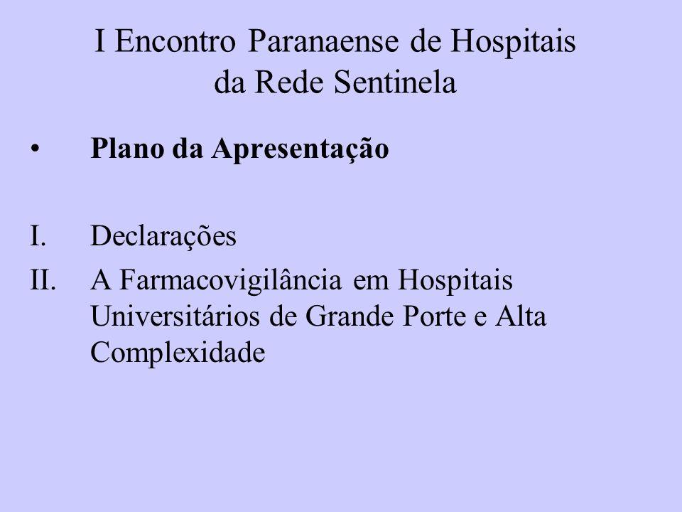 I Encontro Paranaense de Hospitais da Rede Sentinela Plano da Apresentação I.Declarações II.A Farmacovigilância em Hospitais Universitários de Grande Porte e Alta Complexidade