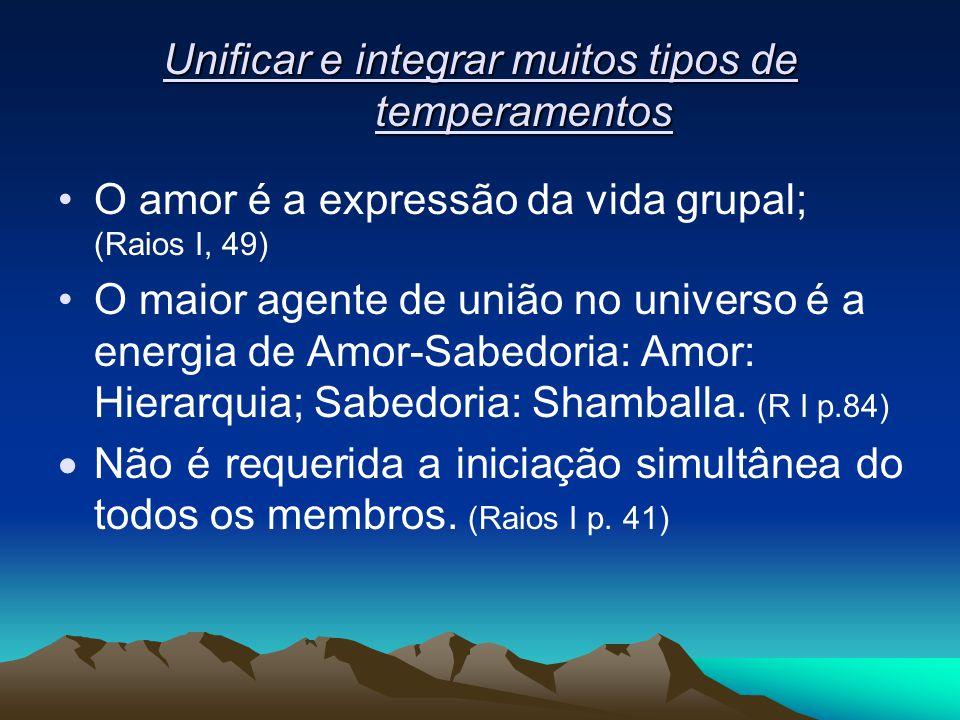 Unificar e integrar muitos tipos de temperamentos O amor é a expressão da vida grupal; (Raios I, 49) O maior agente de união no universo é a energia d