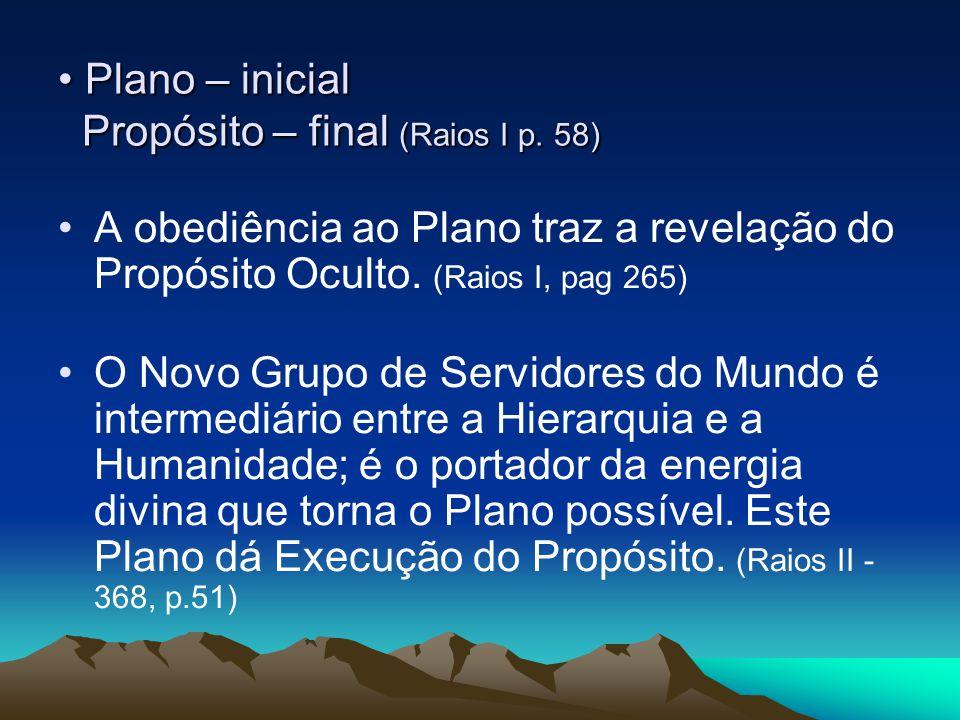 Plano – inicial Propósito – final (Raios I p. 58) Plano – inicial Propósito – final (Raios I p. 58) A obediência ao Plano traz a revelação do Propósit