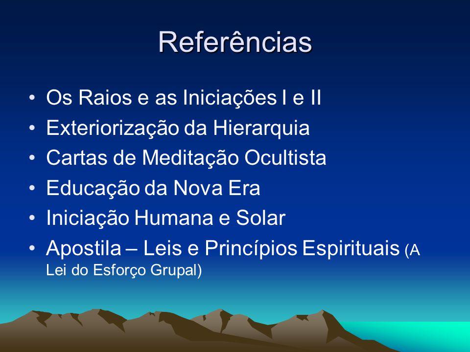 Referências Os Raios e as Iniciações I e II Exteriorização da Hierarquia Cartas de Meditação Ocultista Educação da Nova Era Iniciação Humana e Solar A