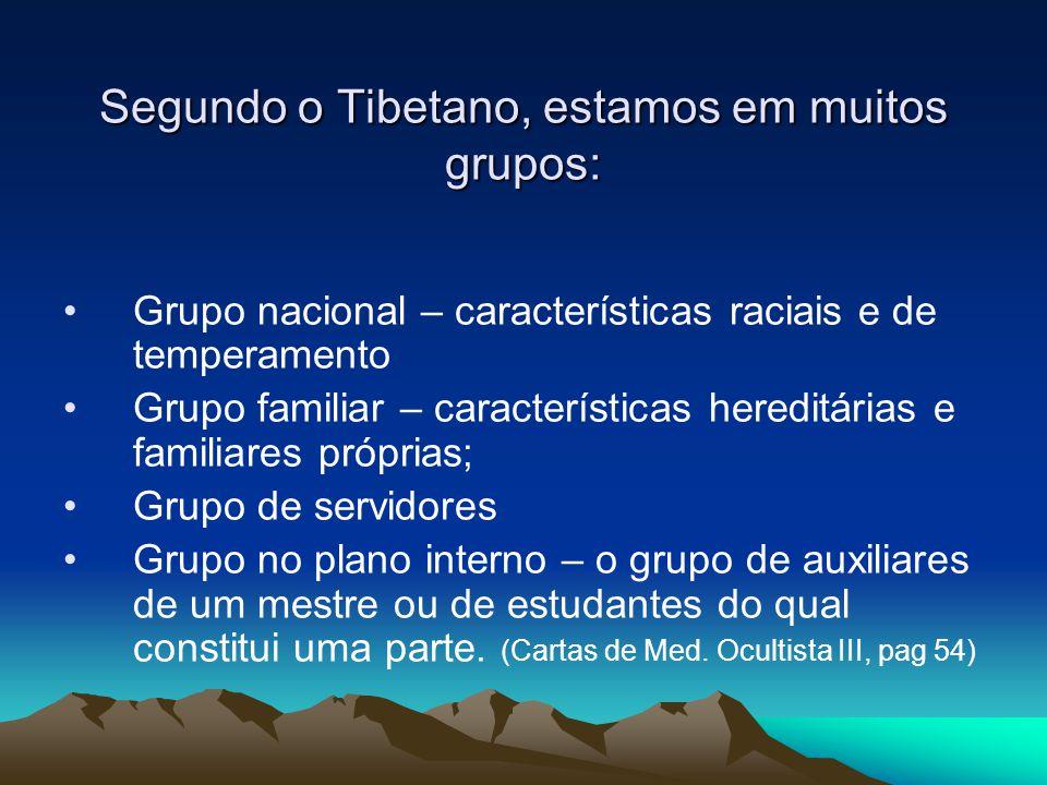 Segundo o Tibetano, estamos em muitos grupos: Grupo nacional – características raciais e de temperamento Grupo familiar – características hereditárias