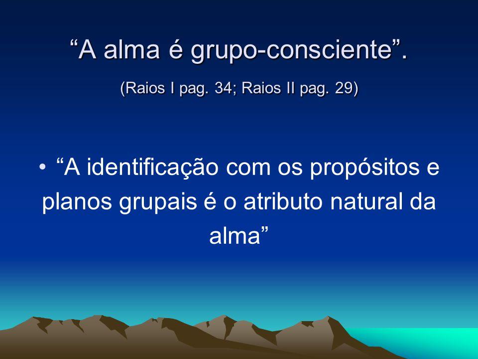 """""""A alma é grupo-consciente"""". (Raios I pag. 34; Raios II pag. 29) """"A identificação com os propósitos e planos grupais é o atributo natural da alma"""""""