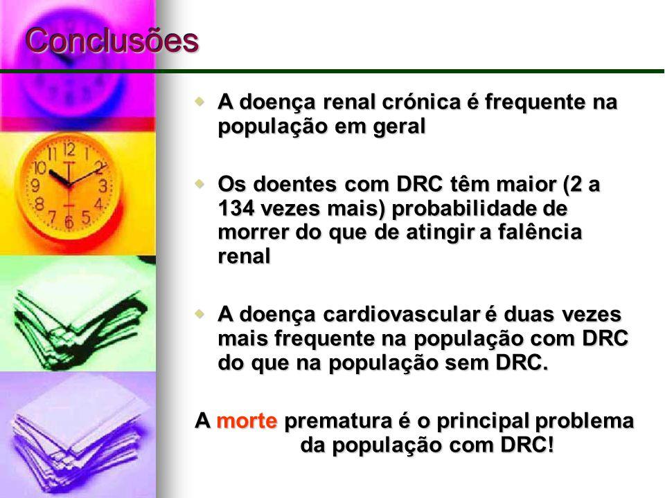 ConclusõesConclusões  A doença renal crónica é frequente na população em geral  Os doentes com DRC têm maior (2 a 134 vezes mais) probabilidade de m