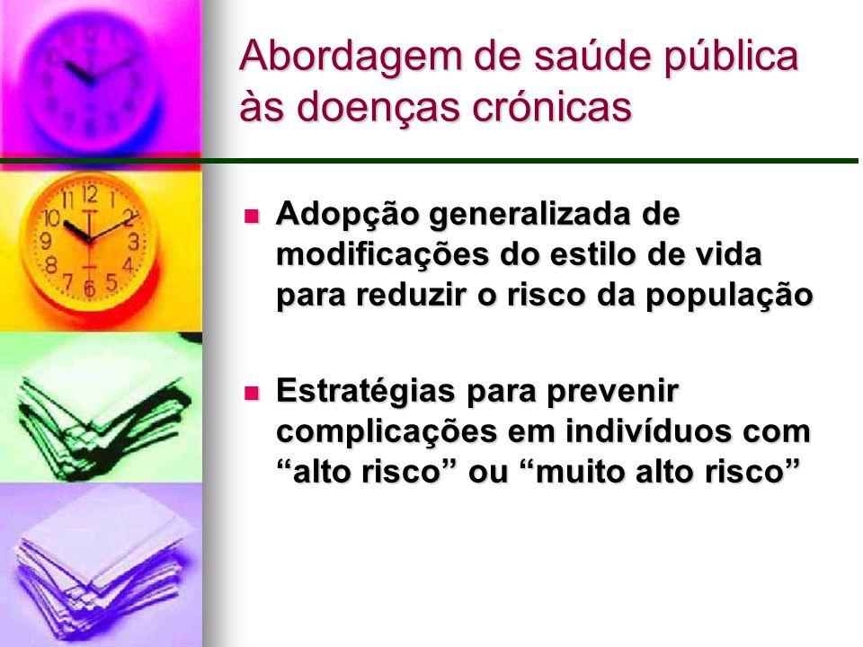 Abordagem de saúde pública às doenças crónicas Adopção generalizada de modificações do estilo de vida para reduzir o risco da população Adopção genera