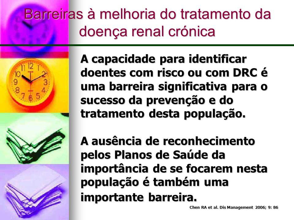 Barreiras à melhoria do tratamento da doença renal crónica A capacidade para identificar doentes com risco ou com DRC é uma barreira significativa par