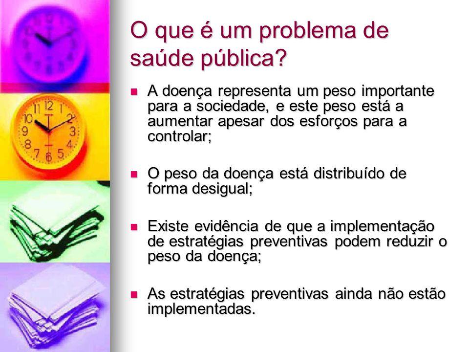 O que é um problema de saúde pública? A doença representa um peso importante para a sociedade, e este peso está a aumentar apesar dos esforços para a