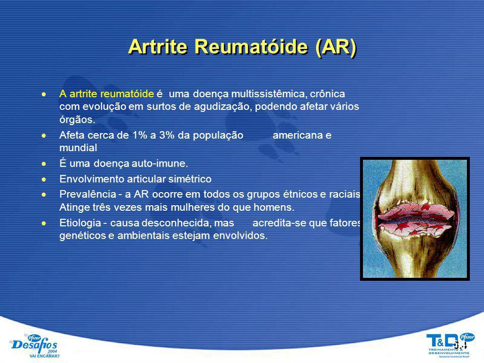 5.4  A artrite reumatóide é uma doença multissistêmica, crônica com evolução em surtos de agudização, podendo afetar vários órgãos.  Afeta cerca de