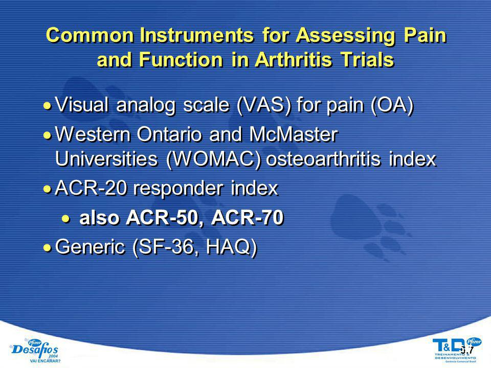 5.7 Common Instruments for Assessing Pain and Function in Arthritis Trials  Visual analog scale (VAS) for pain (OA)  Western Ontario and McMaster Universities (WOMAC) osteoarthritis index  ACR-20 responder index  also ACR-50, ACR-70  Generic (SF-36, HAQ)  Visual analog scale (VAS) for pain (OA)  Western Ontario and McMaster Universities (WOMAC) osteoarthritis index  ACR-20 responder index  also ACR-50, ACR-70  Generic (SF-36, HAQ)