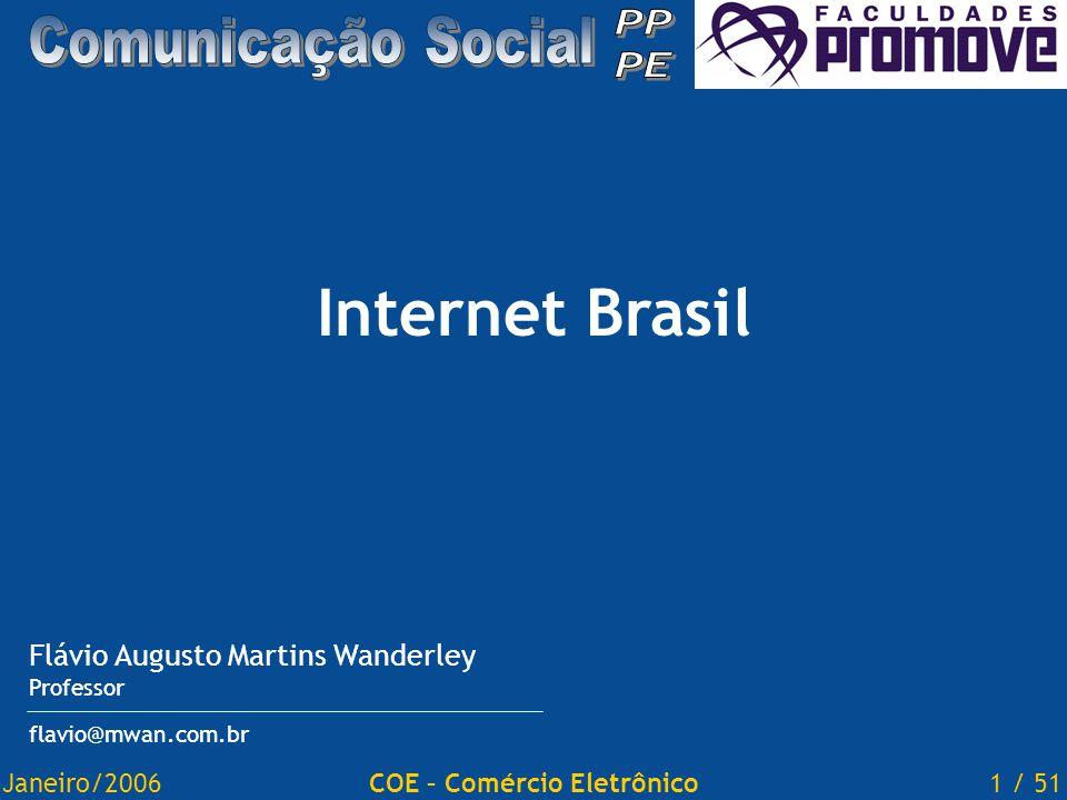 Janeiro/20061 / 51COE – Comércio Eletrônico Internet Brasil Flávio Augusto Martins Wanderley Professor flavio@mwan.com.br