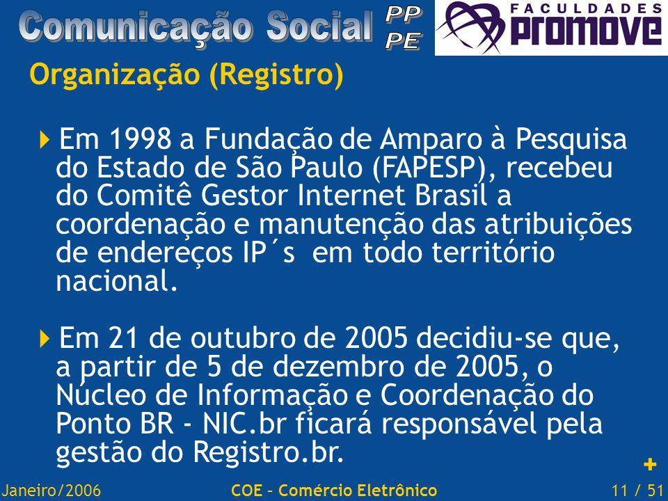Janeiro/200611 / 51COE – Comércio Eletrônico Organização (Registro)  Em 1998 a Fundação de Amparo à Pesquisa do Estado de São Paulo (FAPESP), recebeu do Comitê Gestor Internet Brasil a coordenação e manutenção das atribuições de endereços IP´s em todo território nacional.