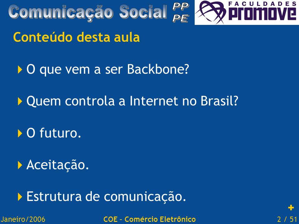 Janeiro/20062 / 51COE – Comércio Eletrônico Conteúdo desta aula  O que vem a ser Backbone.