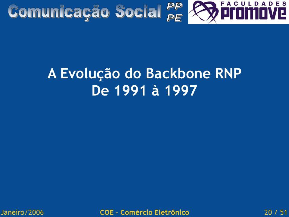 Janeiro/200620 / 51COE – Comércio Eletrônico A Evolução do Backbone RNP De 1991 à 1997