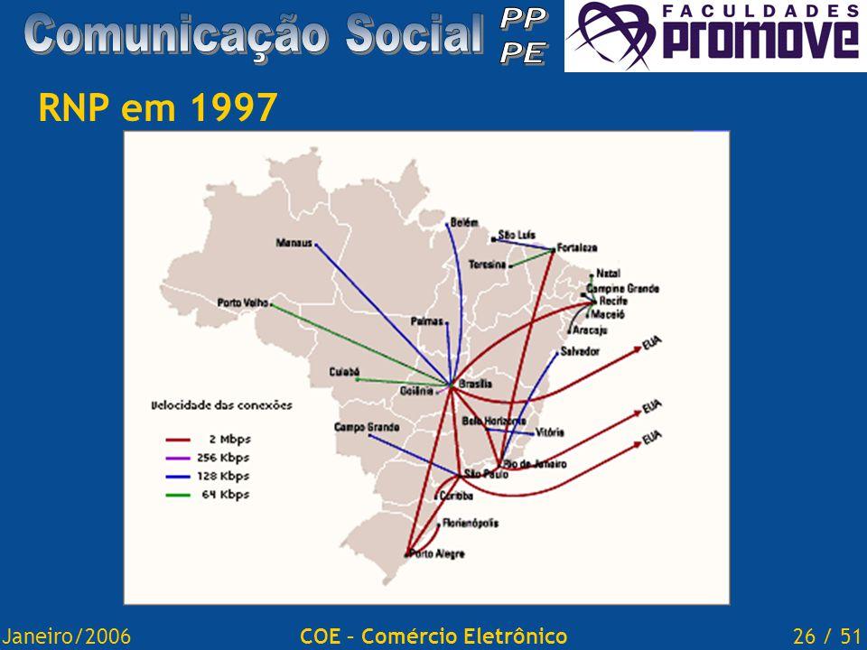 Janeiro/200626 / 51COE – Comércio Eletrônico RNP em 1997