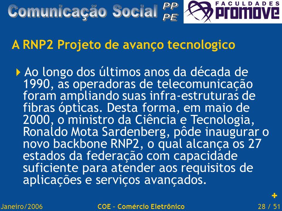 Janeiro/200628 / 51COE – Comércio Eletrônico A RNP2 Projeto de avanço tecnologico  Ao longo dos últimos anos da década de 1990, as operadoras de telecomunicação foram ampliando suas infra-estruturas de fibras ópticas.