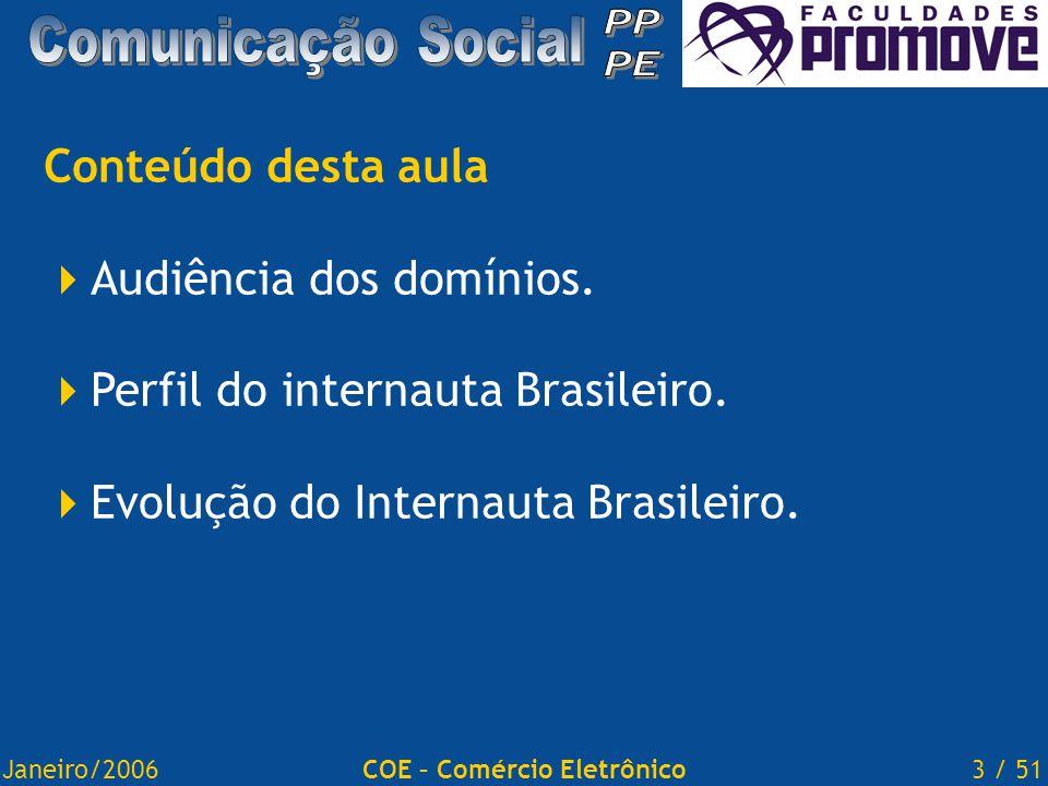 Janeiro/20063 / 51COE – Comércio Eletrônico Conteúdo desta aula  Audiência dos domínios.