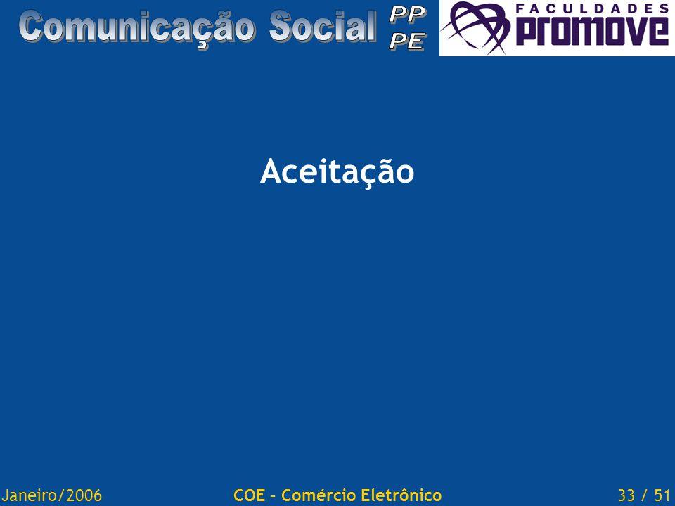 Janeiro/200633 / 51COE – Comércio Eletrônico Aceitação
