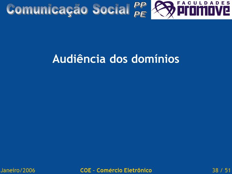 Janeiro/200638 / 51COE – Comércio Eletrônico Audiência dos domínios