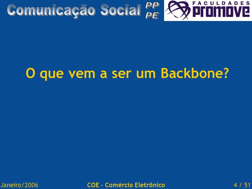 Janeiro/20064 / 51COE – Comércio Eletrônico O que vem a ser um Backbone?