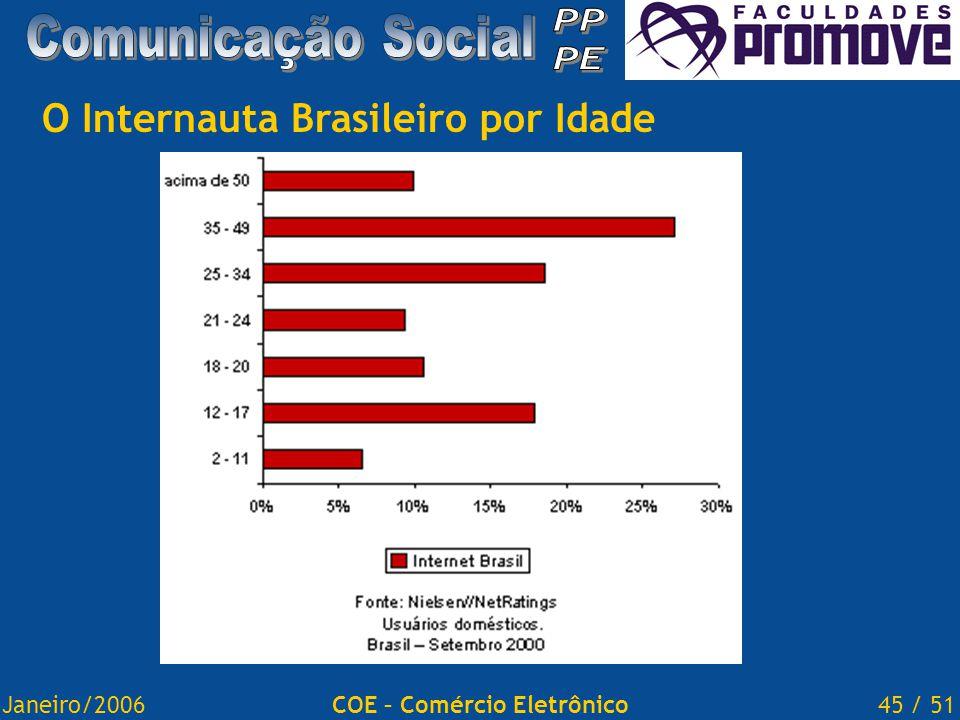 Janeiro/200645 / 51COE – Comércio Eletrônico O Internauta Brasileiro por Idade
