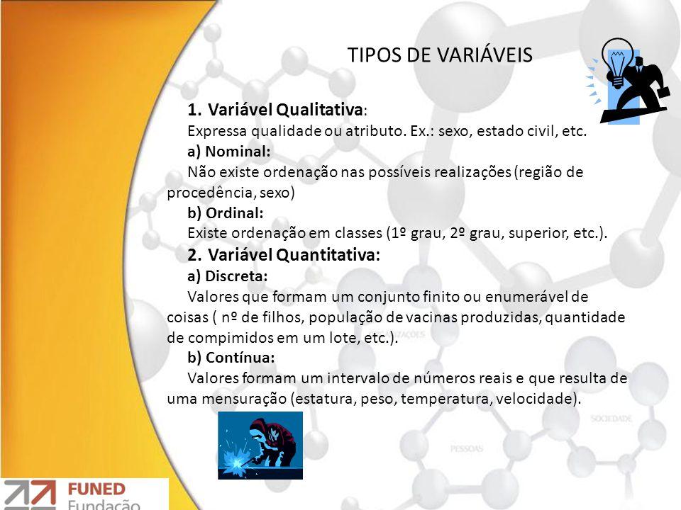 1.Variável Qualitativa : Expressa qualidade ou atributo. Ex.: sexo, estado civil, etc. a) Nominal: Não existe ordenação nas possíveis realizações (reg