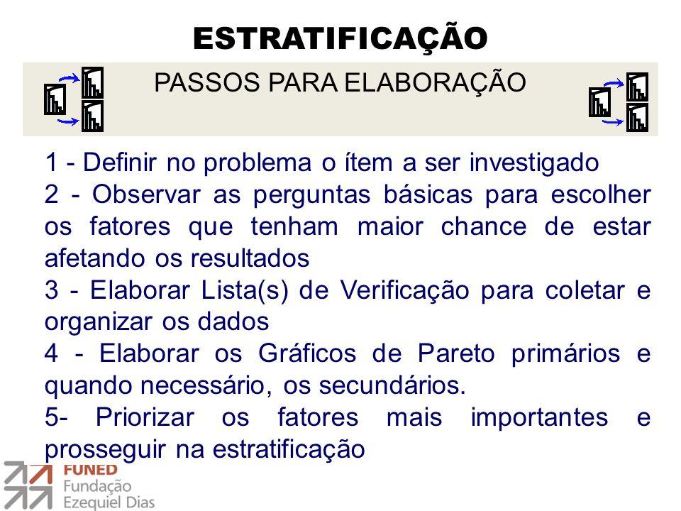 ESTRATIFICAÇÃO 1 - Definir no problema o ítem a ser investigado 2 - Observar as perguntas básicas para escolher os fatores que tenham maior chance de