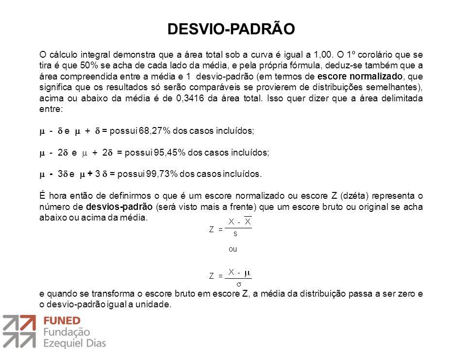 DESVIO-PADRÃO O cálculo integral demonstra que a área total sob a curva é igual a 1,00. O 1º corolário que se tira é que 50% se acha de cada lado da m