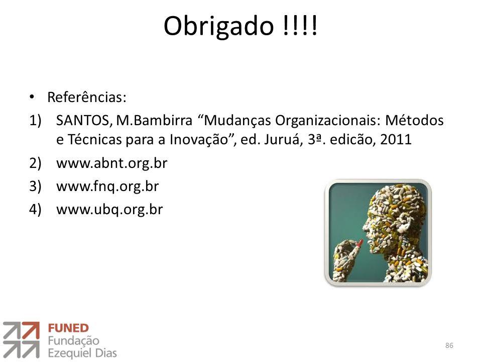 """Obrigado !!!! Referências: 1)SANTOS, M.Bambirra """"Mudanças Organizacionais: Métodos e Técnicas para a Inovação"""", ed. Juruá, 3ª. edicão, 2011 2)www.abnt"""