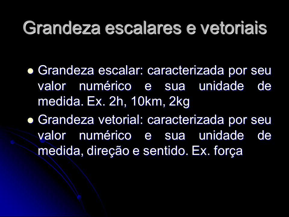 Grandeza escalares e vetoriais Grandeza escalar: caracterizada por seu valor numérico e sua unidade de medida. Ex. 2h, 10km, 2kg Grandeza escalar: car