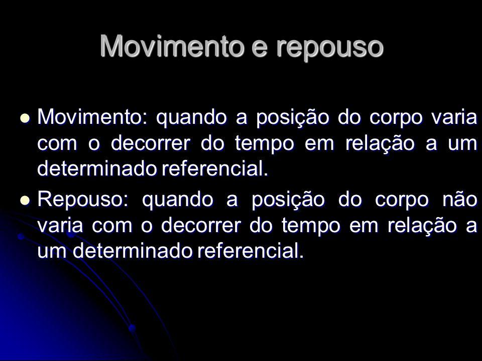 Movimento e repouso Movimento: quando a posição do corpo varia com o decorrer do tempo em relação a um determinado referencial. Movimento: quando a po