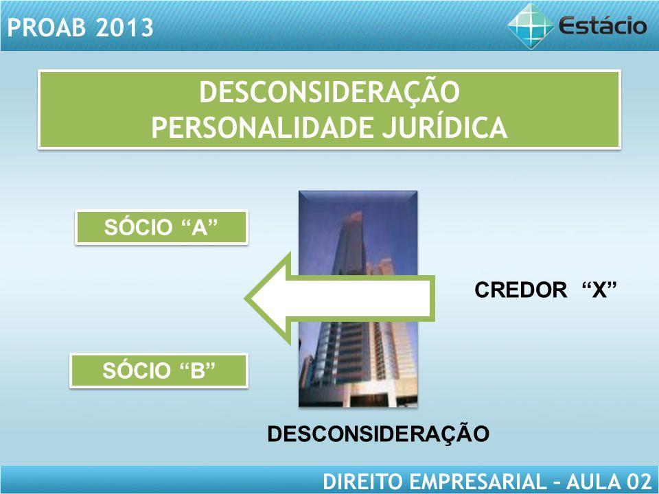 """PROAB 2013 DIREITO EMPRESARIAL – AULA 02 SÓCIO """"B"""" SÓCIO """"A"""" DESCONSIDERAÇÃO CREDOR """"X"""" DESCONSIDERAÇÃO PERSONALIDADE JURÍDICA DESCONSIDERAÇÃO PERSONA"""
