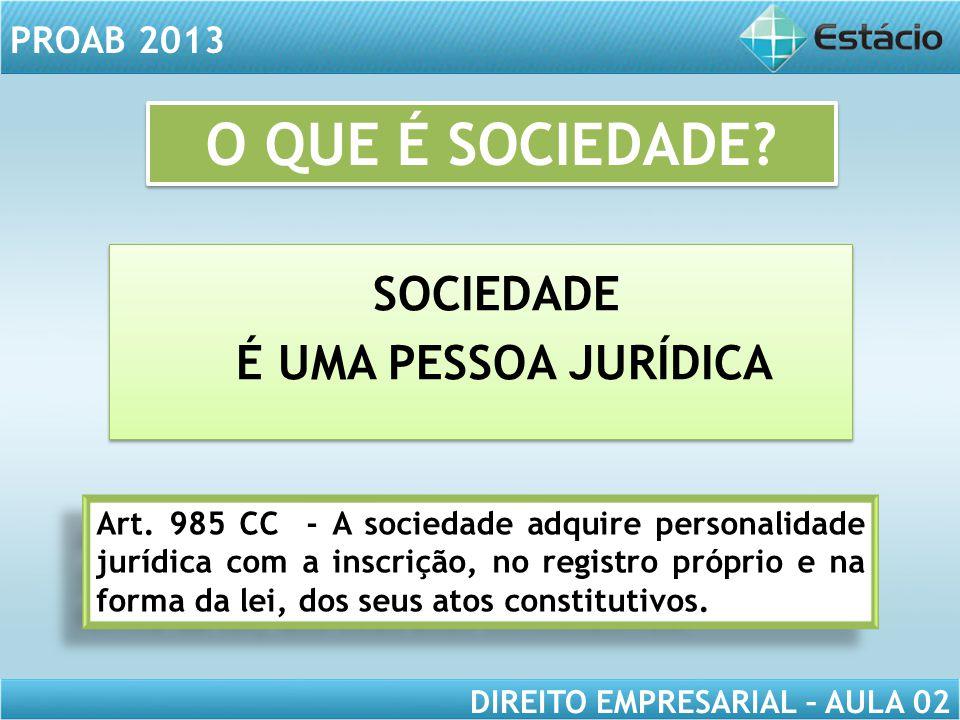 PROAB 2013 DIREITO EMPRESARIAL – AULA 02 ELEMENTOS ESPECÍFICOS ELEMENTOS COMUNS CONTRATO SOCIAL ATO CONSTITUTIVO: CONTRATO SOCIAL