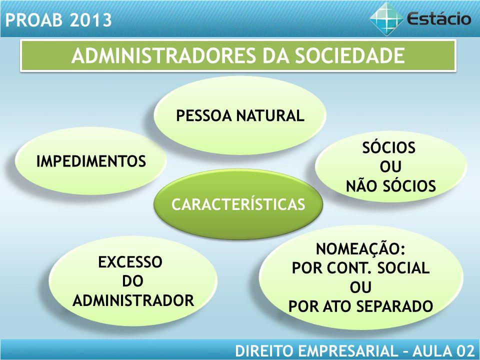 PROAB 2013 DIREITO EMPRESARIAL – AULA 02 CARACTERÍSTICAS NOMEAÇÃO: POR CONT. SOCIAL OU POR ATO SEPARADO NOMEAÇÃO: POR CONT. SOCIAL OU POR ATO SEPARADO