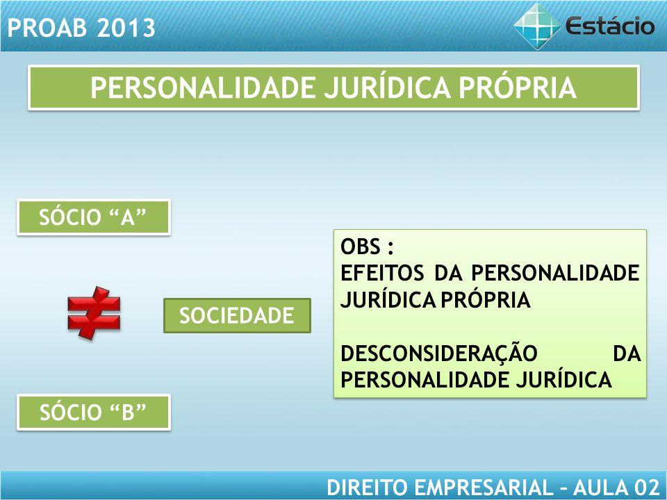 """PROAB 2013 DIREITO EMPRESARIAL – AULA 02 SÓCIO """"B"""" SÓCIO """"A"""" SOCIEDADE OBS : EFEITOS DA PERSONALIDADE JURÍDICA PRÓPRIA DESCONSIDERAÇÃO DA PERSONALIDAD"""