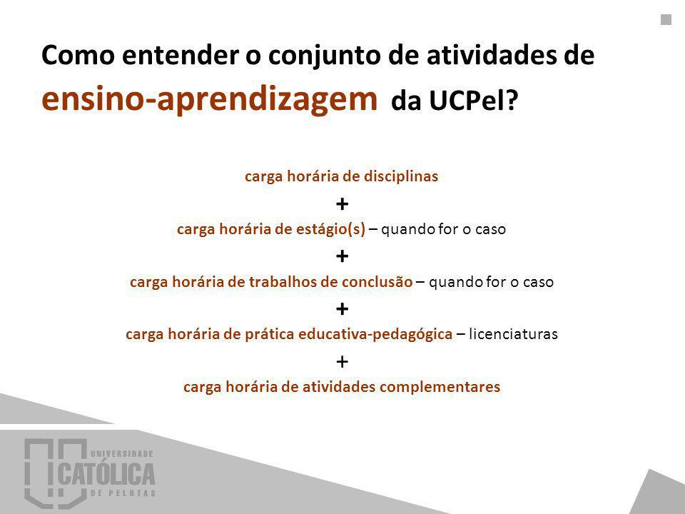 Como entender o conjunto de atividades de ensino-aprendizagem da UCPel? carga horária de disciplinas + carga horária de estágio(s) – quando for o caso