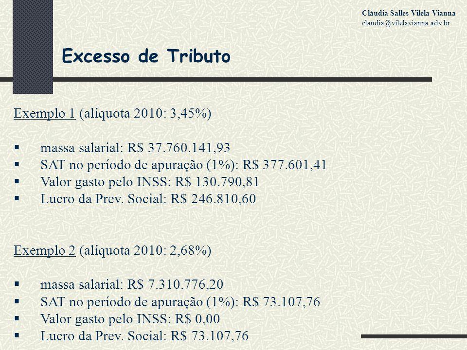 Excesso de Tributo Exemplo 1 (alíquota 2010: 3,45%)  massa salarial: R$ 37.760.141,93  SAT no período de apuração (1%): R$ 377.601,41  Valor gasto pelo INSS: R$ 130.790,81  Lucro da Prev.