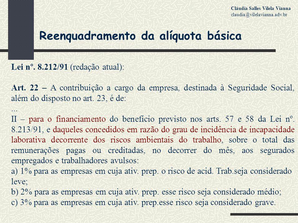 Reenquadramento da alíquota básica Lei nº.8.212/91 (redação atual): Art.