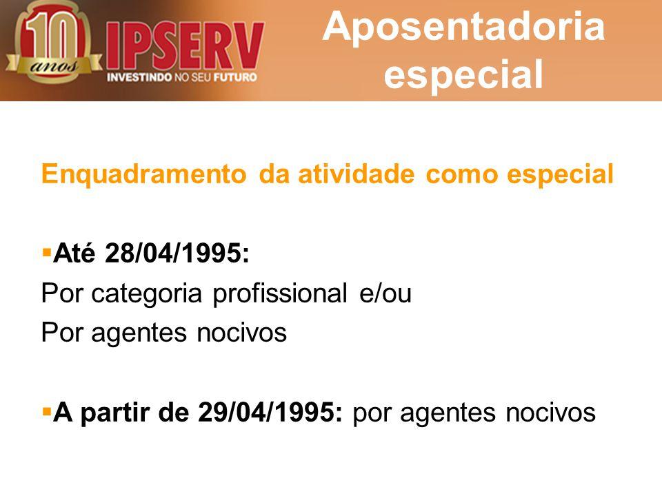 Aposentadoria especial Enquadramento da atividade como especial  Até 28/04/1995: Por categoria profissional e/ou Por agentes nocivos  A partir de 29