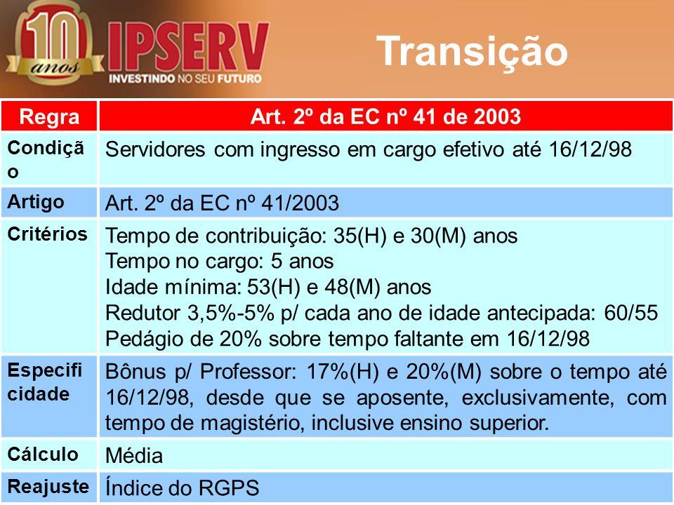 Transição RegraArt. 2º da EC nº 41 de 2003 Condiçã o Servidores com ingresso em cargo efetivo até 16/12/98 Artigo Art. 2º da EC nº 41/2003 Critérios T