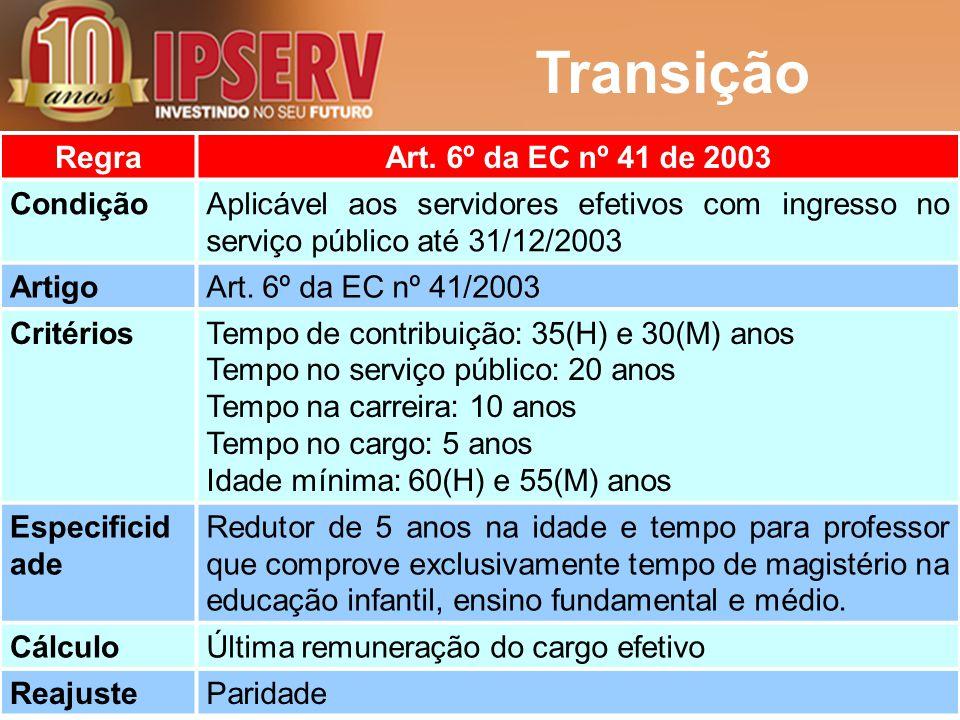 Transição RegraArt. 6º da EC nº 41 de 2003 CondiçãoAplicável aos servidores efetivos com ingresso no serviço público até 31/12/2003 ArtigoArt. 6º da E