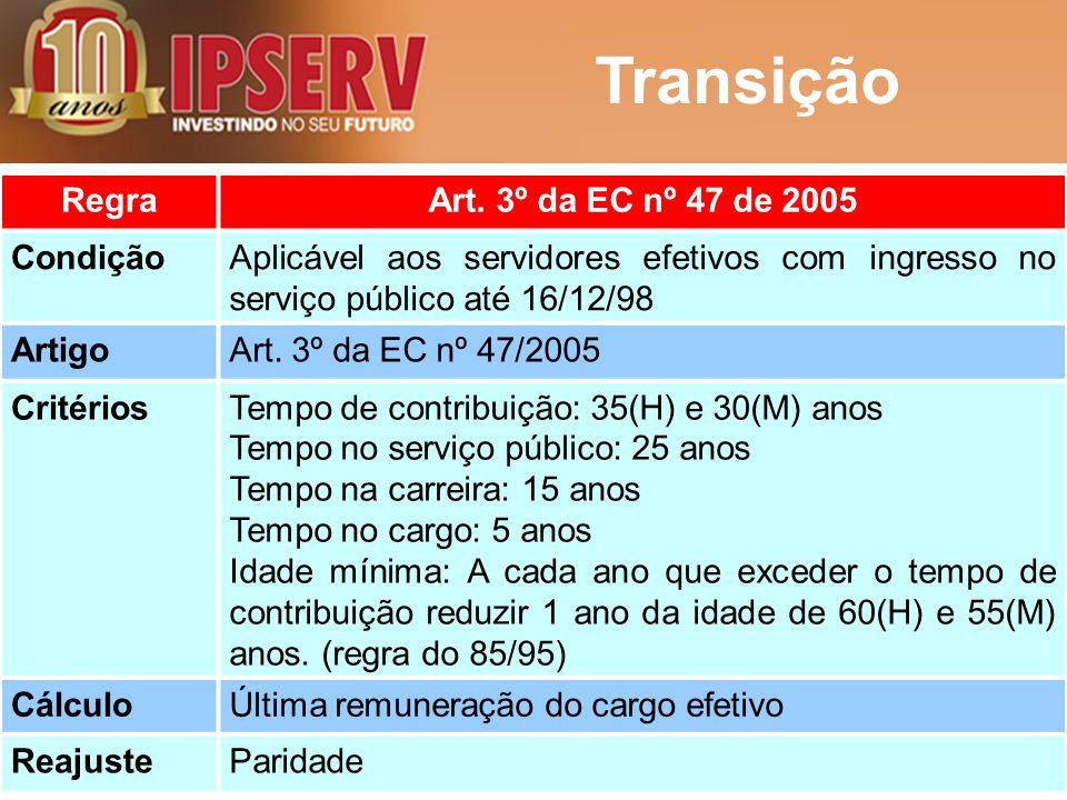 Transição RegraArt. 3º da EC nº 47 de 2005 CondiçãoAplicável aos servidores efetivos com ingresso no serviço público até 16/12/98 ArtigoArt. 3º da EC