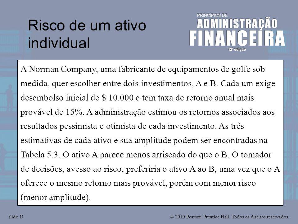 © 2010 Pearson Prentice Hall. Todos os direitos reservados.slide 11 A Norman Company, uma fabricante de equipamentos de golfe sob medida, quer escolhe