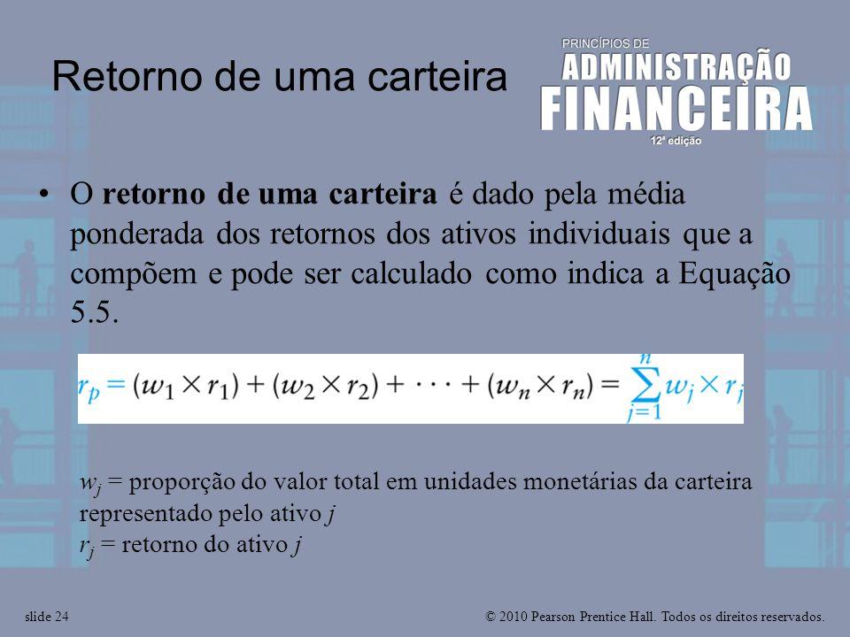 © 2010 Pearson Prentice Hall. Todos os direitos reservados.slide 24 Retorno de uma carteira O retorno de uma carteira é dado pela média ponderada dos