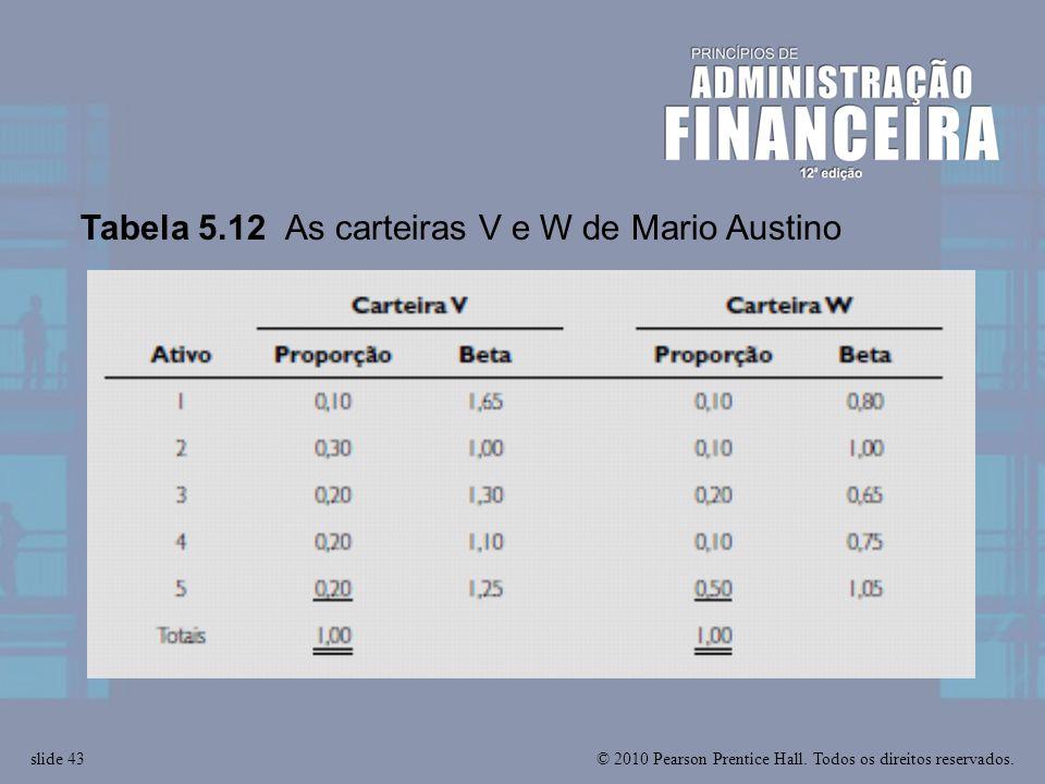 © 2010 Pearson Prentice Hall. Todos os direitos reservados.slide 43 Tabela 5.12 As carteiras V e W de Mario Austino