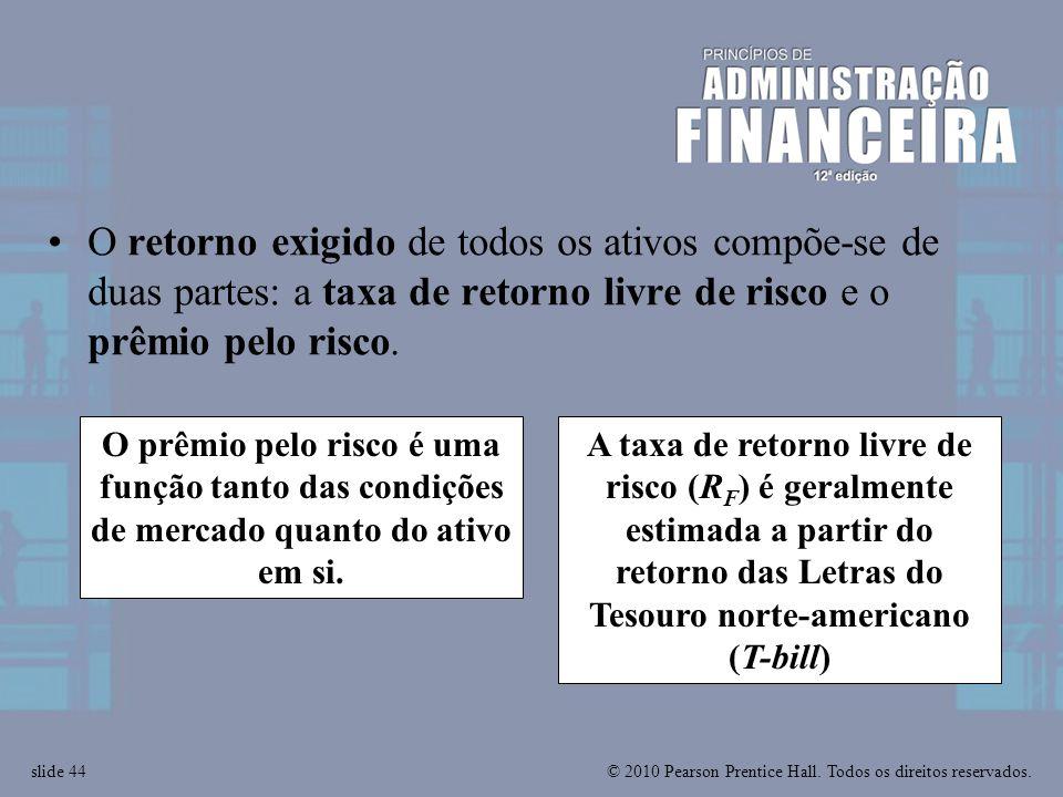 © 2010 Pearson Prentice Hall. Todos os direitos reservados.slide 44 A taxa de retorno livre de risco (R F ) é geralmente estimada a partir do retorno