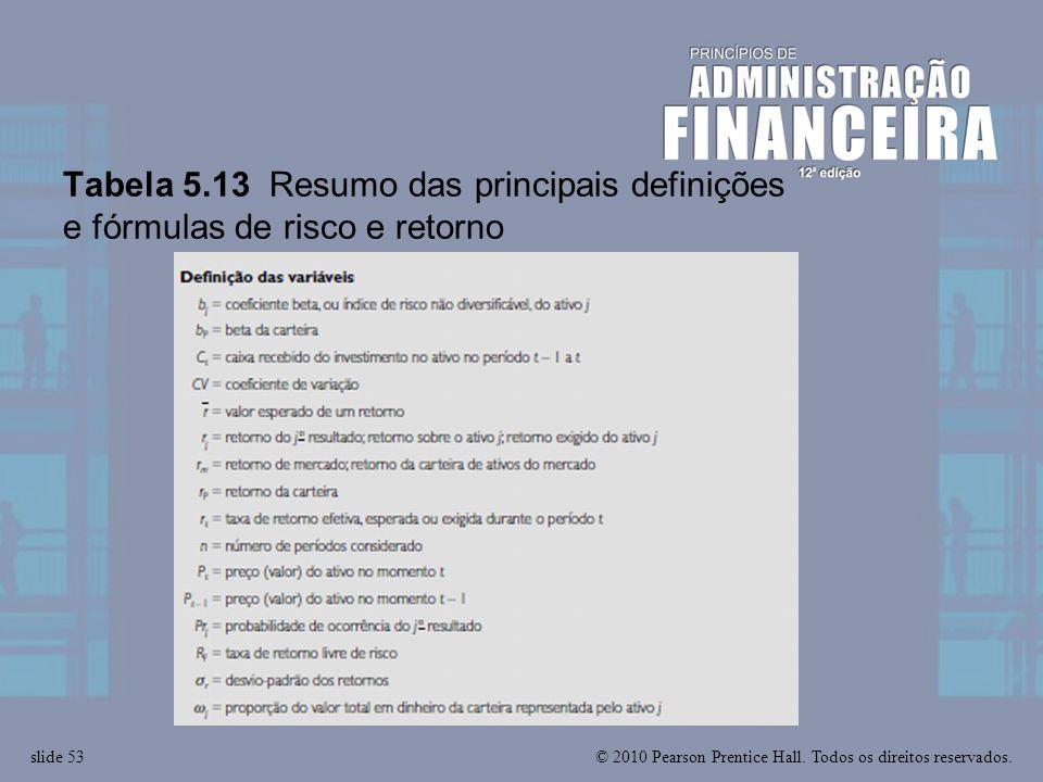 © 2010 Pearson Prentice Hall. Todos os direitos reservados.slide 53 Tabela 5.13 Resumo das principais definições e fórmulas de risco e retorno