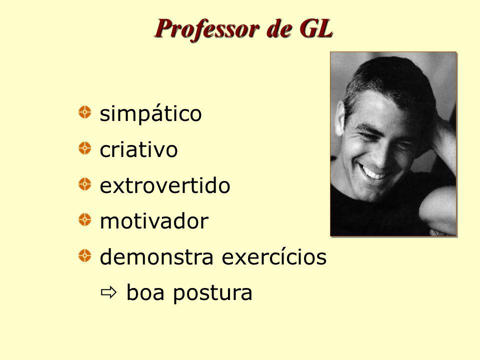 Professor de GL simpático criativo extrovertido motivador demonstra exercícios  boa postura